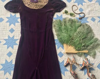 1930s Dress / 30s Purple Velvet Dress / AS IS 1930s Gown