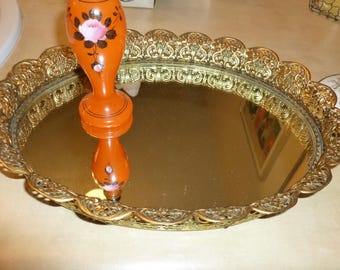 Lovely Mid-Century Open Filigree Mirrored Vanity Tray