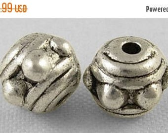 SUPER SALE 7mm Silver Spacer Beads, Metal Beads,  10 Beads, Hole 1mm, Nickel Free, 6mm Thick