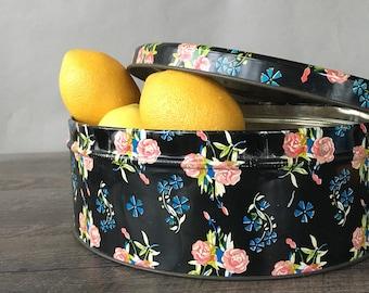 Vintage Black Floral Metal Tin | kitchen biscuit tin, round storage container, pink roses, chintz cookie tin, shabby chic kitchen, metal box