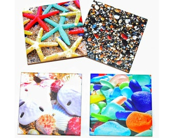 Valentines Day Gift For Mom Beach Coaster Set of 4 / Starfish, Sand Dollar, Sea Glass and Pebbles / Beach House Decor Drink Coasters