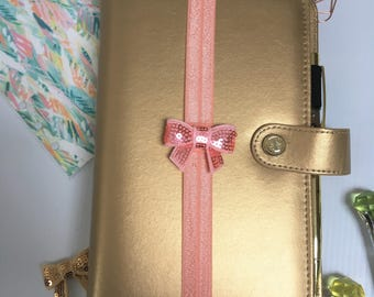 Sequin Bow Planner Band,Peach Bow