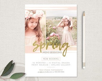 Spring Mini Session Template - Spring Marketing Board, Instant Download, Photoshop Template for Photographers, Watercolor Marketing Board