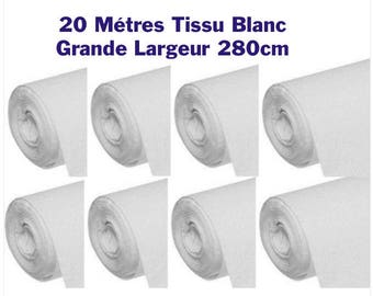 20 M white tissue 280 CM wedding, tablecloths round 100% cotton
