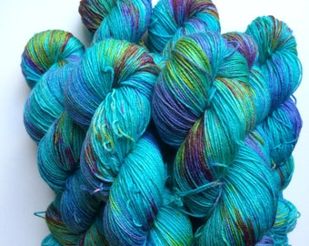 New edition Madagascan sunset  Hand dyed sock yarn 4ply finger weight superwash BFL and bamboo 100g. BFL is a British breed.