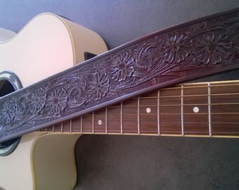 Hand Made Carved Leather Guitar Strap, Hand Tooled, Can be Personalized with Your Initials, Western Floral Design, For Acoustic or Electric