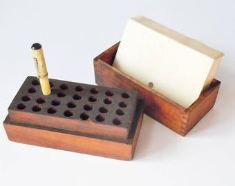 Industrial Desk Set / Old Drill Bit  Holder / Wooden Beauty / Vintage Note Cards Included