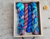 Mauveberry Sock Set |  Tasman Sock  Halfsie |  hand-dyed yarn  | mauve purple blue |  % 75 SW Merino 25 Nylon 4-Ply