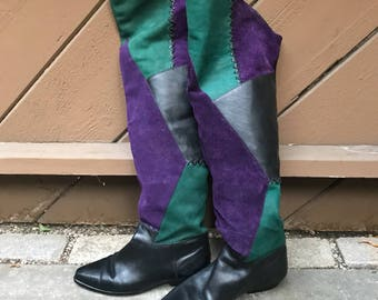 Vintage 80s Over The Knee Patchwork Boots