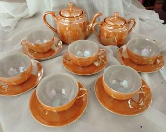 Vintage Japanese Tea Set Peach Lusterware Eggshell Porcelain Excellent Condition PostWar Era 16-piece Set Tea Pot Sugar Bowl 6 Cups Saucers