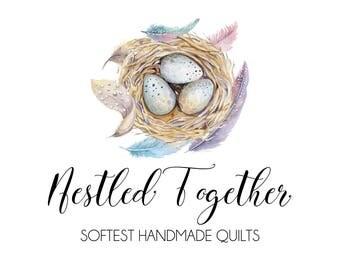 Bird's Nest Logo-Egg and feather logo-Nature Logo-Spring Logo-Nest logo-Etsy Logo-Photography Logo-Small Business Logo-Branding
