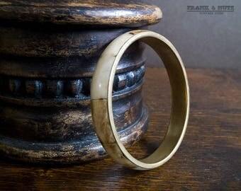 Vintage bohemian brass and bone bracelet,  bangle, big statement jewelry,