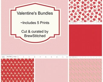 NEW!! Fat Quarter Bundle - Fabric by the Yard - Kewpie Fabric - Riley Blake - Quilt fabric - Red and Pink Fabric - Valentine Fabric - 5 FQ
