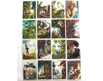 The Wonderful Adventures of Nils, Selma Lagerlöf, Swedish Fairy Tale Story, Set of 16 Postcards, Illustration, Soviet, Kanevsky, USSR, 1975