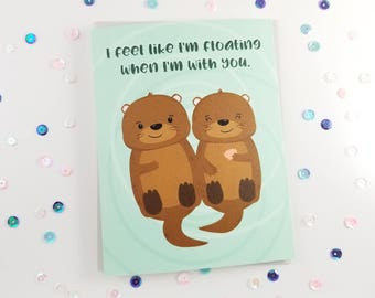 Otter Love Card, Otter Floating Card, Love You Card, Valentine's Greeting Card, Romantic Otter Couple, Cards with Puns, Punny Cards