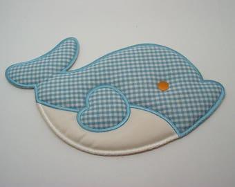 Great application coat fleece fusible blue whale pattern