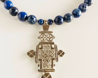 Africa Inspired Blue Lapis Lazuli and Silver Cross Statement Necklace