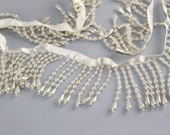 "Teardrop Pearl Fringe - 38"" - New - 2 1/4"" white pearl fringe"