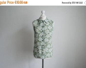 Vintage S/M floral sleeveless chiffon blouse