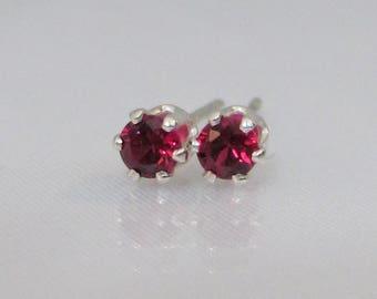 Tiny Ruby Stud Earrings, 3mm Lab Ruby, Sterling Silver, Red Ruby, Gemstone Earrings, Post Earrings, Petite Earrings, July Birthstone Gift