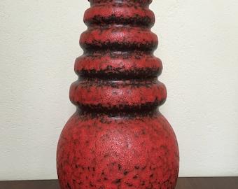 Scheurich XXL mat red 269 - 53  Wien ( Vienna ) floor vase  Designed by A.Seide vintage 1970s Mid Century  West Germany