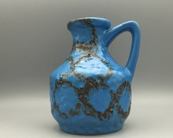 Bay  Keramik 215- 17  designer :  Bodo Mans,  Vintage Mid Century  blue vase West Germany. WGP.