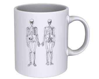 The Human Skeleton - Hand drawn Anatomical - Coffee Mug - Best Gift !!!