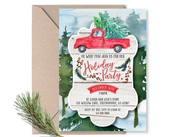 Holiday Party Invitation Printable / Christmas Tree Trimming Invitation / Christmas Invite / Holiday Invitation / Woodland Holiday Invite