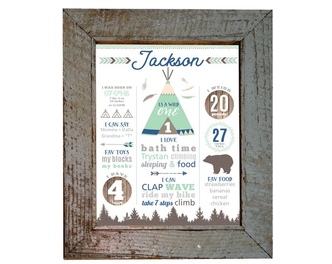 Milestone Wall Art, Wild One 1ST BIRTHDAY Print - Personalized 1st Birthday Sign, Boho, tepee Milestone Sign, Printable Birthday Sign