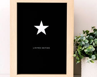 Limited Edition; Black and White Print; Christmas Gift; Typographic Print; Wall Art; Typography; Star Print; SMP031