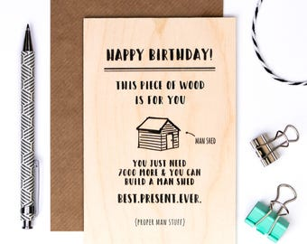 Wooden Birthday Card For Men; Keepsake Desk Card; Card For Dad; Card For Husband; Male Card; GC633