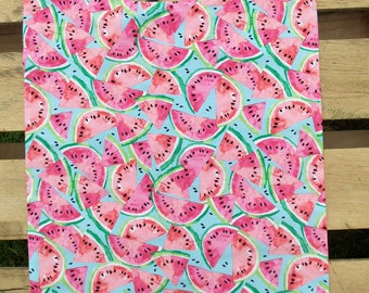 Fun Adult Bib, Watermelon Print, Reversible