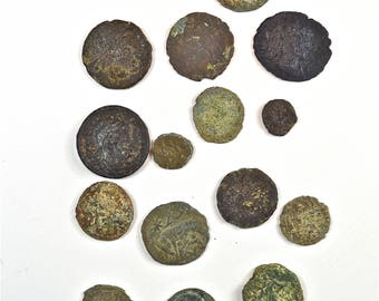 15 original small Roman bronze coins 1500 years old coin money Rome uncleaned RC5