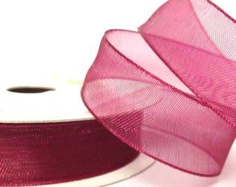 15mm Wine Organza Ribbon