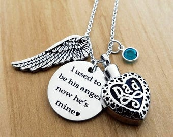 Memorial urn necklace, Heart cremation jewelry, I used to be his angel now he's mine, Daddy's girl necklace, Ashes holder