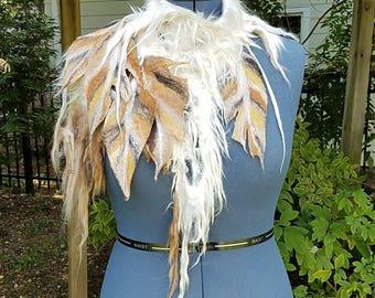 Native American Inspired Tribal Warrior Neckpiece. Felted Raw Alpaca Locks Collar with Feathers. Warrior Princess Cowl. Festival Wear.