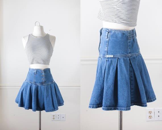 80s denim micro mini skirt blue jean skirt high waist skirt
