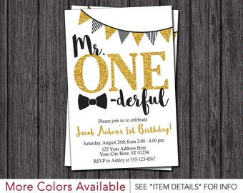 Mr. ONEderful Birthday Invitation - Mr One-derful, Tuxedo, First Birthday Invitations