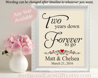2nd Anniversary Gift Cotton Anniversary Gift for Husband Wife 2 year anniversary gift Personalized Cotton Print Days Hours Minutes (208)