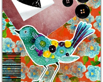 Hand-cut greeting card 'Blue bird'  with envelope 15cm x 21cm by Card Bubble