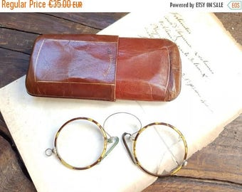 ON SALE Antique Bakelite Pince Nez French Glasses Spectacles Eyewear Eyepiece Lorgnette Costume leather case horn wire frame eye glasses G13