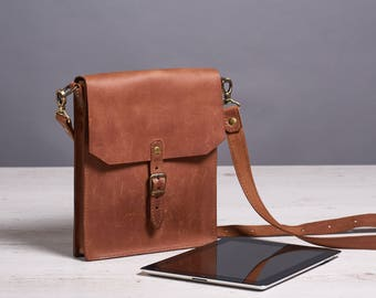 Ready to ship. Small leather crossbody bag. Brown leather saddle bag. Mens crossbody bag.