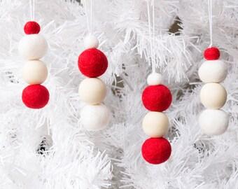 Felt Christmas Ornaments x 8. Red and White Felt Bead Ornaments Hanging. Felt Ball Ornaments. Pom Pom Ornaments. Christmas decor. Xmas Tree