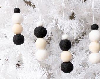 Felt Christmas Ornaments x 8. Black and White Felt Bead Ornaments Hanging. Felt Ball Ornaments. Pom Pom Ornament. Christmas decor. Xmas Tree