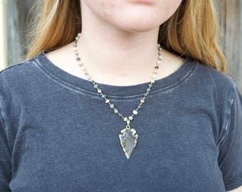 Charcoal and navy blue beaded necklace with neutral arrowhead pendant// boho