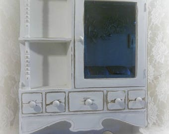 Antique Vintage White Chippy Carved Wood Medicine Cabinet Cupboard Beveled Mirror& Shelves So Shabby, Cottage, Farm Chic