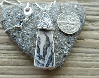 Beautiful wire wrapped sea pottery pendant necklace