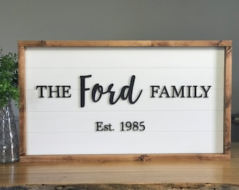 Family Established Sign. Home Decor. Laser Word. Living Room Decor. Framed Sign. Living Room Sign. Farmhouse Sign. Living Room Sign.