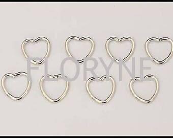 8 heart 10Mm silver Metal rings