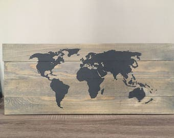 World Map Painted with Chalkboard Paint On Wood